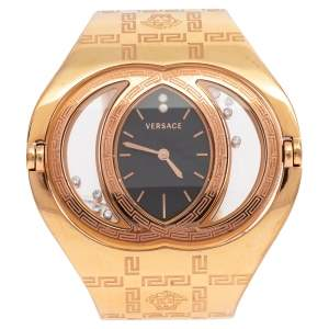 Versace Black Rose Gold Plated Stainless Steel Eclissi 73Q Women's Wristwatch 39 mm