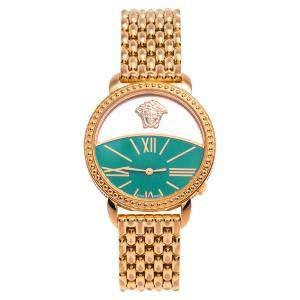 Versace Green Gold Plated Stainless Steel Krios 93Q Women's Wristwatch 38 mm