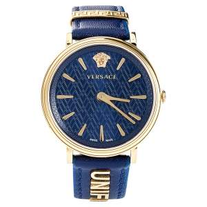 Versace Blue Gold Plated Stainless Steel Leather V-Circle VBP09 0017 Women's Wristwatch 38 mm