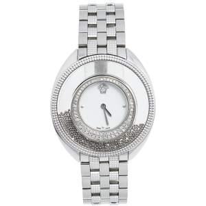 Versace White Stainless Steel Diamond Destiny Spirit 86Q Women's Wristwatch 39 mm