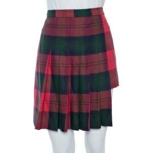 Versus Versace Red Tartan Pleated Asymmetrical Mini Skirt M