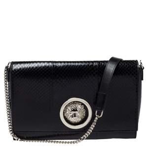 Versus Versace Black Python Effect Leather Chain Shoulder Bag