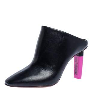 Vetements Black/Pink Leather Gypsy Highlighter Heel Mule Size 38