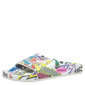 Vetements Multicolor Printed Leather Slides Size 36