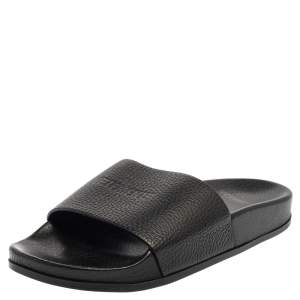 Vetements Black Logo Embossed Textured Leather Flat Slides Size 36