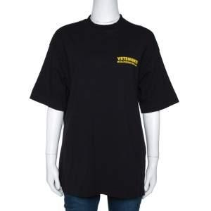 Vetements Black Logo Metal Print Cotton Oversized T-Shirt M