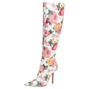 Vetements Multicolor Floral Print Leather Over The Knee Boots Size 38