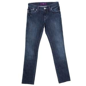 Victoria Beckham Indigo Dark Wash Faded Effect Slim Fit Denim Jeans S
