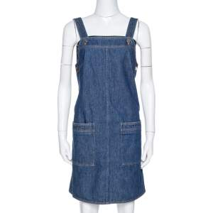 Victoria Beckham Indigo Denim Pinafore Dress S