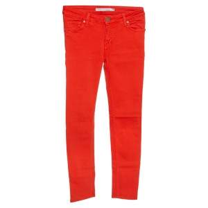 Victoria Beckham Orange Denim Slim Fit Jeans S