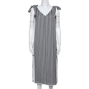 Victoria Beckham White/Black Stripe Silk Knotted Twill Midi Dress M