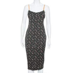 Victoria Beckham Black Floral Print Textured Leather Strap Detail Sheath Dress M