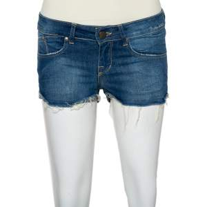 Victoria Beckham Blue Denim Frayed Hem Boyfriend Shorts S
