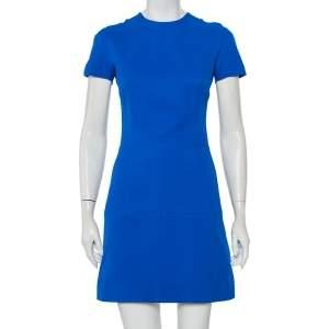 Victoria Beckham Blue Wool & Silk Paneled Mini Dress S
