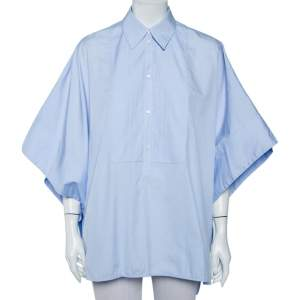 Victoria Victoria Beckham Blue Cotton Side Open Oversized Cape Shirt (One Size)