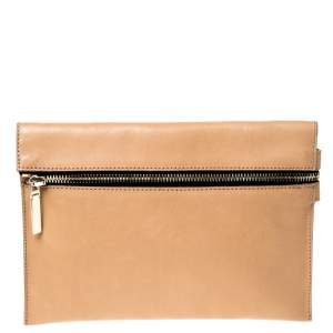 Victoria Beckham Peach Orange Leather Zip Clutch
