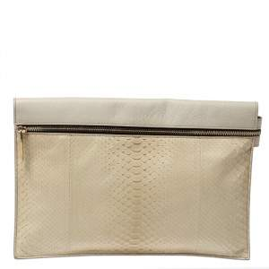 Victoria Beckham Ivory Leather and Python Zipper Clutch