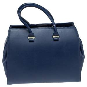 Victoria Beckham Navy Blue Leather Liberty Satchel