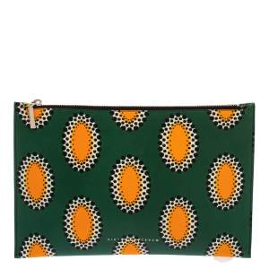 Victoria Beckham Multicolor African Print Leather Simple Pouch