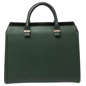 Victoria Beckham Green Leather Victoria Tote