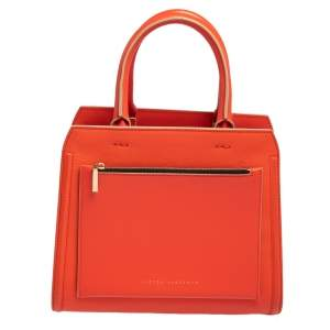 Victoria Beckham Orange Peach Leather Small City Tote