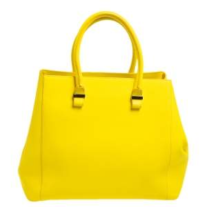 Victoria Beckham Yellow Grained Leather Quincy Tote