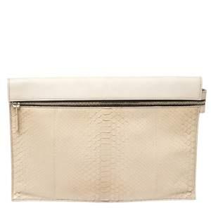 Victoria Beckham Cream Python Embossed Leather Zip Clutch