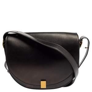Victoria Beckham Black Leather Half Moon Shoulder Bag