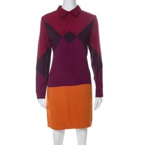 Victoria Victoria Beckham Multicolor Crepe Colorblock Harlequin Dress L