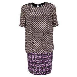 Victoria Victoria Beckham Multicolor Printed Silk and Jacquard Short Sleeve Dress M