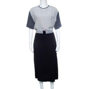 Victoria Victoria Beckham Navy Blue and White Printed Bodice Belted Dress M