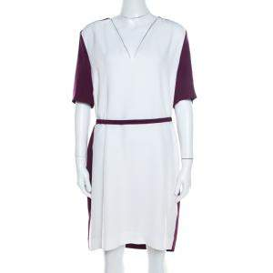 Victoria Victoria Beckham Purple and White Belted Shift Dress L