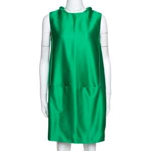 Victoria Victoria Beckham Green Jacquard Cocoon Mini Dress S