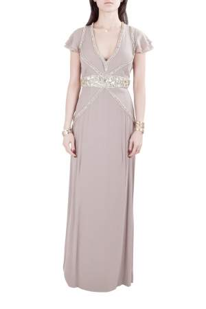 Viktor & Rolf Soir Mauve Silk Crystal Embellished Layered Flutter Sleeve Evening Gown S