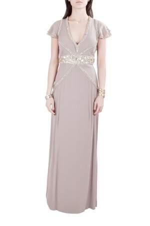 Viktor & Rolf Soir Mauve Silk Crystal Embellished Layered Flutter Sleeve Evening Gown S