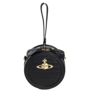 Vivienne Westwood Black Croc Embossed Faux Leather Round Crossbody Bag
