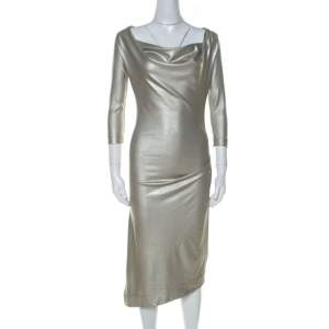 Vivienne Westwood Anglomania Metallic Stretch Knit Asymmetric Dress S