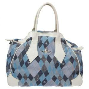 Vivienne Westwood Blue/White Printed Canvas and Leather Dome Satchel