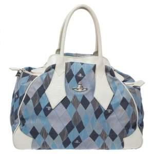 حقيبة فيفيان ويستوود دوم جلد و كانفاس مطبوع أبيض و أزرق