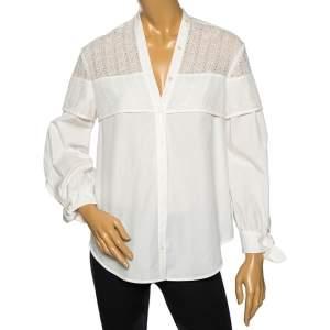 Weekend Max Mara White Eyelet Cotton Curved Hem Detail Shirt M