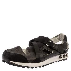 حذاء رياضي صندل واي-3 سير فيلكرو جلد و سويدي أسود مقاس 42