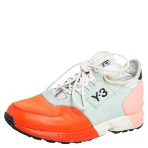 Y3 x adidas Yohji Yamamoto Multicolor Leather And Neoprene Zx Zip Low Top Sneakers Size 36 2/3