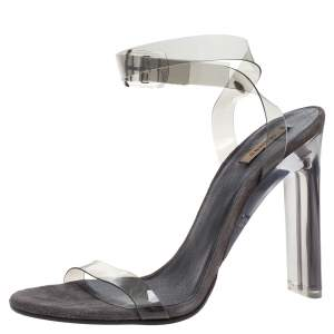 Yeezy Grey PVC Season 6 Open Toe Ankle Strap Sandals Size 39
