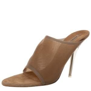 Yeezy Beige Mesh Season 6 Open Toe Mule Sandals Size 38