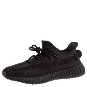 Yeezy x Adidas Black Cotton Knit Boost 350 V2 Cinder Sneakers Size 39.5