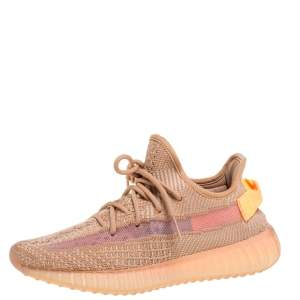 Yeezy x Adidas Beige Cotton Knit And Mesh Boost 350 V2 Clay Sneakers Size 36.5