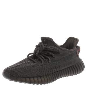 Yeezy x Adidas Black Cotton Knit Boost 350 V2 Static Non Reflective Sneakers Size 38.5