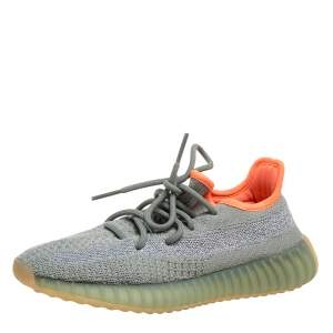Yeezy x Adidas Grey/Green Knit Fabric Boost 350 V2 Desert Sage Reflective Sneakers Size 35.5