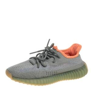 Yeezy x Adidas Green/Grey Cotton Knit Fabric Boost 350 V2 Desert Sage Sneakers Size 37 1/3
