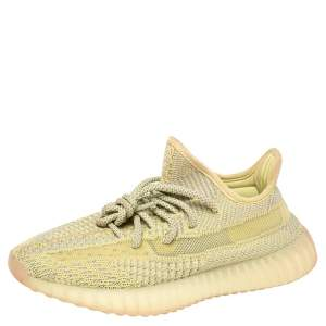 Yeezy x Adidas Yellow Cotton Knit Boost 350 V2 'Antlia' Sneakers Size 37.5